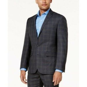Ryan Seacrest Grey Plaid Modern-Fit Blazer Jacket